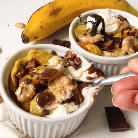 recette healthy de pain perdu au four au chocolat et à la banane sans lait de vache et sans sucre ajouté