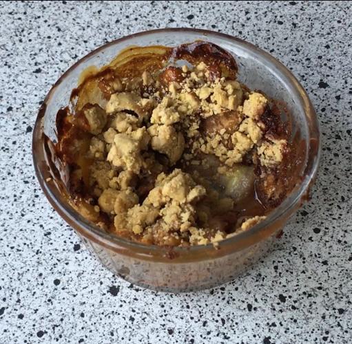 crumble avoine banane chocolat au four sans beurre et sans sucre