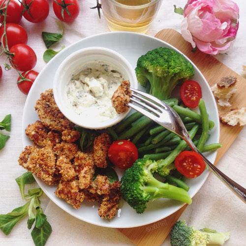 nuggets poulet healthy et allégé au four sans chapelure, sans oeuf, sans lait