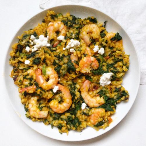 Recette de risotto healthy à la courge butternut, crevettes et épinard