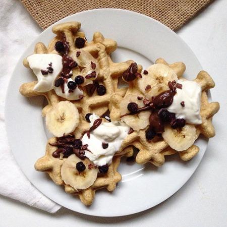 recette de gaufre healthy à la banane sans sucre et sans beurre