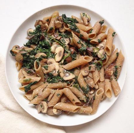 recette penne protéinée healthy sauce champignons et épinards