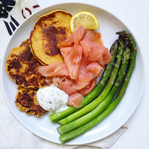 Pancake healthy à la patate douce sans gluten sans matière grasse