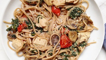 Recette saine à base de poulet sauce moutarde accompagné de spaghetti