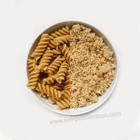 article sur la différence de volume entre féculents crus et cuits