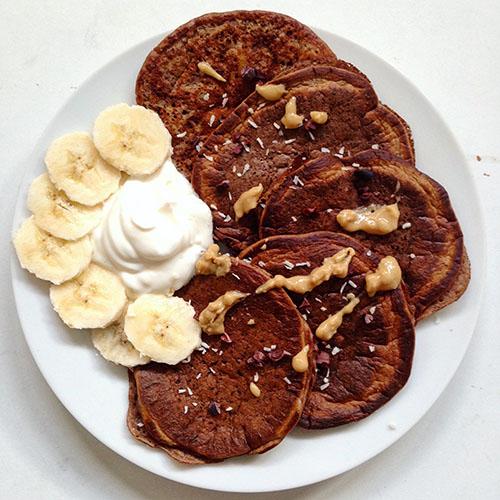 recette de pancake healthy au chocolat praliné sans sucre
