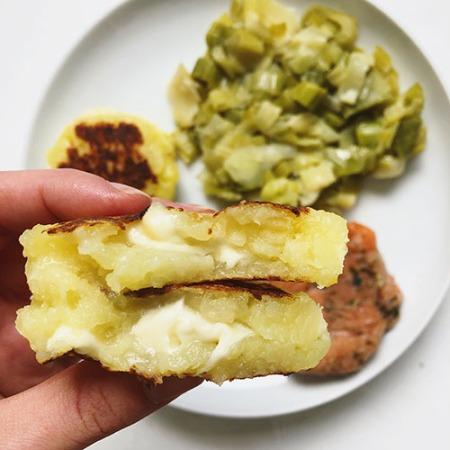recette de galette de pomme de terre fourrée à la mozzarella