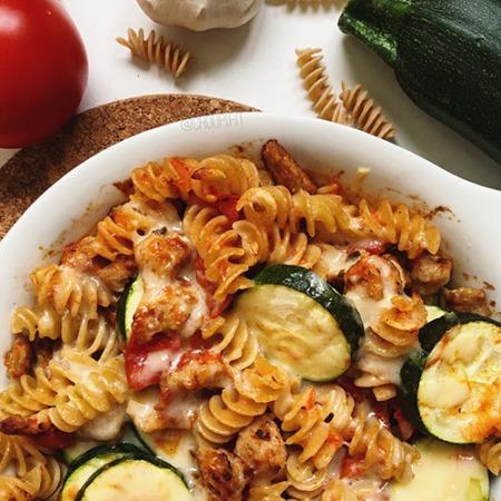 recette healthy gratin de pâtes au poulet sans béchamel