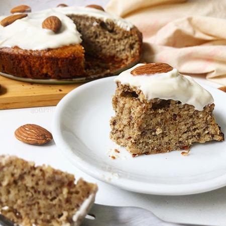 Recette healthy de cake à la poudre d'amande sans farine, sans lait et sans sucre raffiné