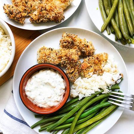 recette healthy et facile de poisson pané cuit au four sans friture et sans oeuf